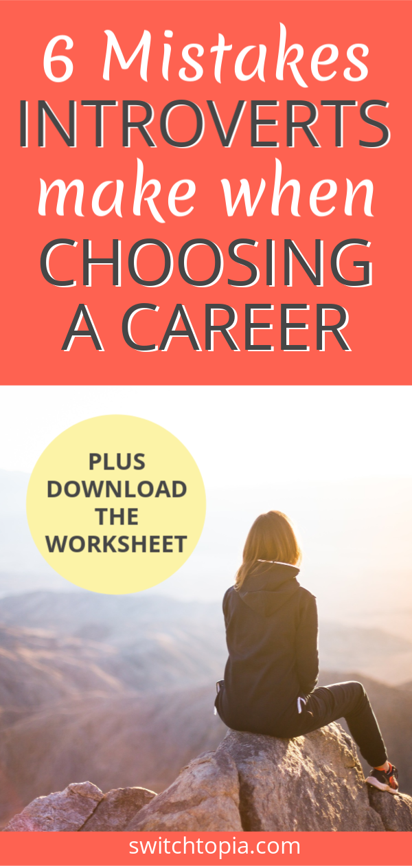 Spending time on Pinterest looking through careers for introverts lists? Discover why this is a big mistake. Check out this blog post where I lay out the 6 mistakes introverts make when choosing a career. I've made all these mistakes myself, and now as a Career Change Coach for Introverts, I'm here to help you avoid them. Plus download the FREE worksheet to help you figure out your dream (introvert-friendly) career TODAY!